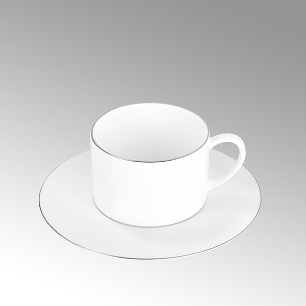 Lambert Kaffeeuntertasse Serene Weiß mit Platinrand