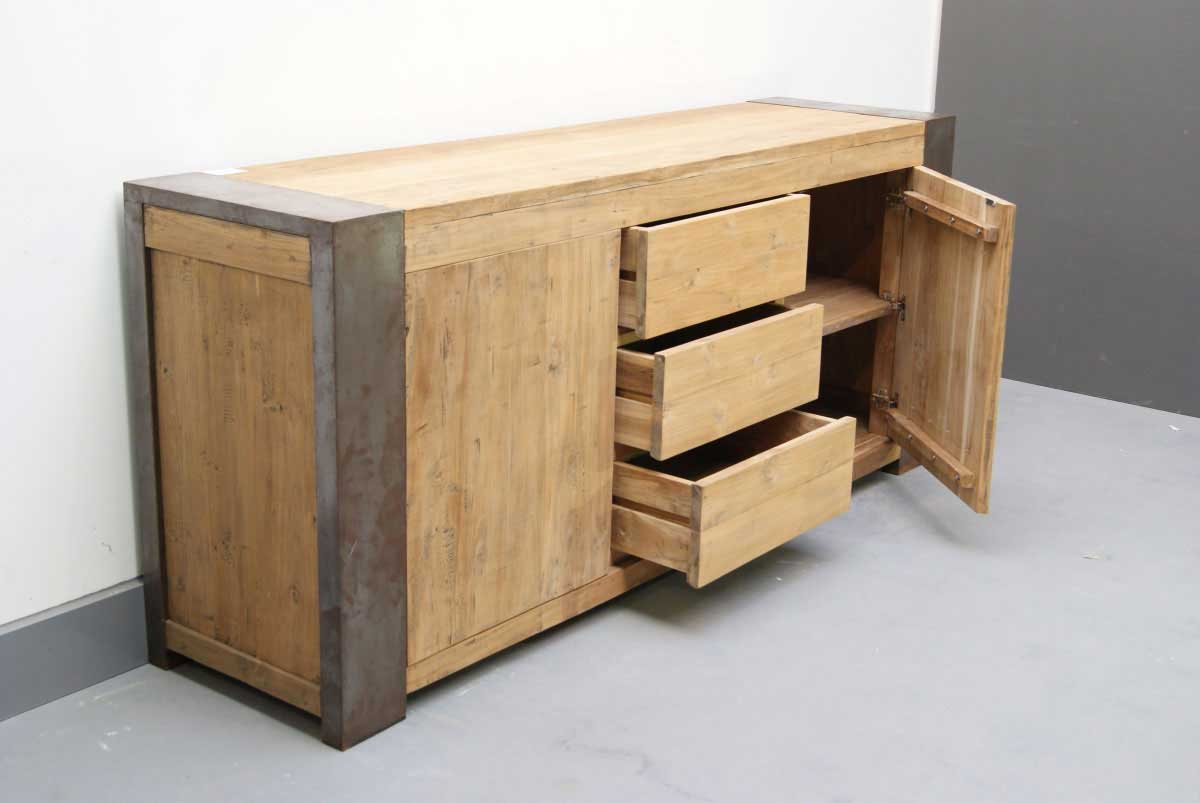 sideboard holz stahl industriedesign online kaufen. Black Bedroom Furniture Sets. Home Design Ideas