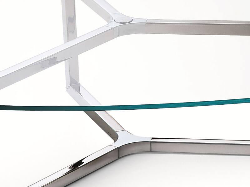 Runder Beistelltisch aus Glas und Edelstahl Raj 2 von Gallotti ...