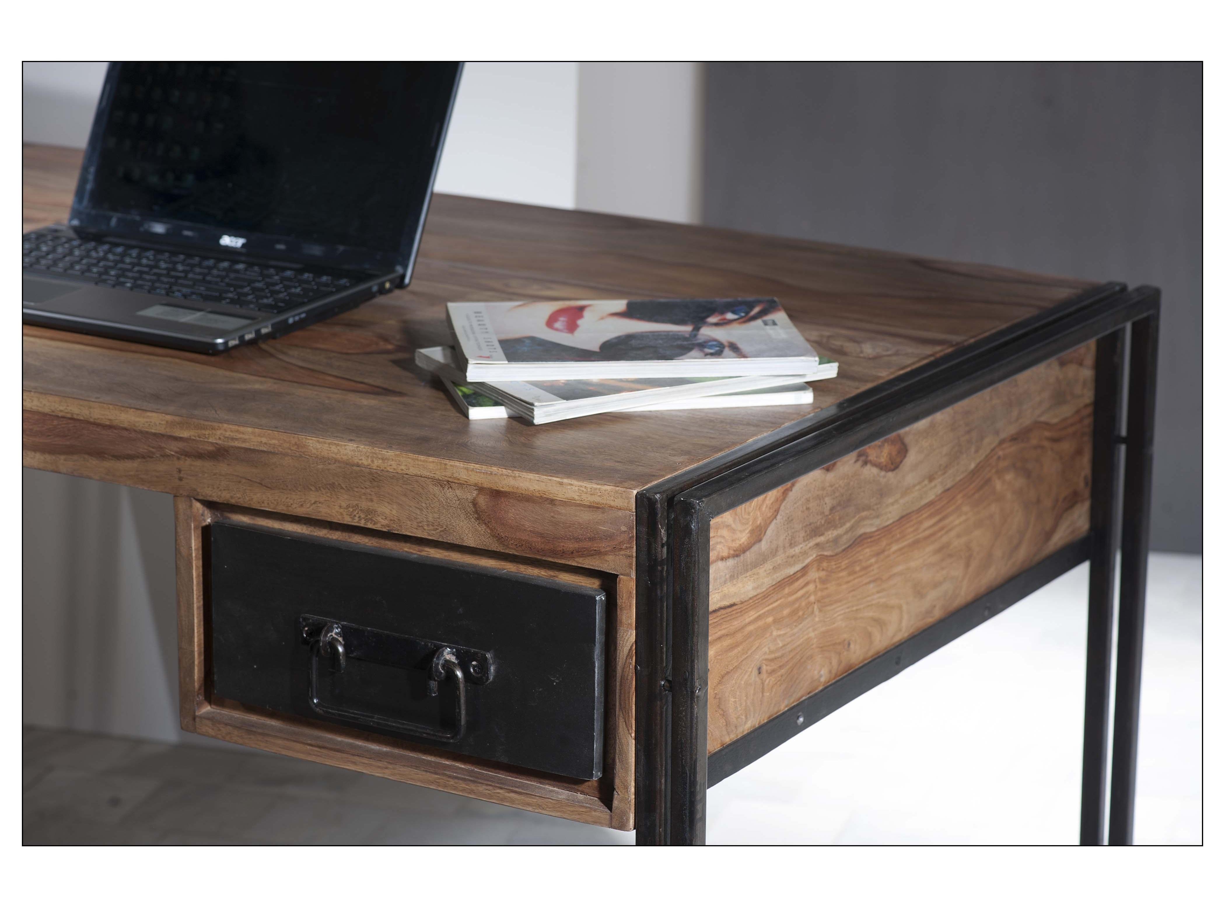 industrial vintage schreibtisch mit schubladen holz metall schwarz online kaufen. Black Bedroom Furniture Sets. Home Design Ideas