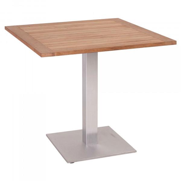 Stern Gartentisch - 80 x 80 cm, Teak-Tischplatte
