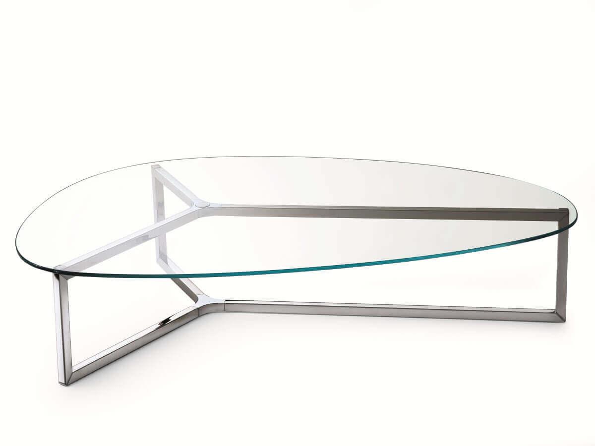 Asymmetrischer couchtisch aus edelstahl und glas raj 3 von for Design couchtisch edelstahl glas