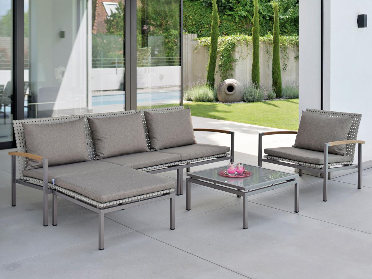Stern Gartenmöbel Lounge Lucy Seitenelement rechts Aluminium taupe Gurtbespannung natur ...