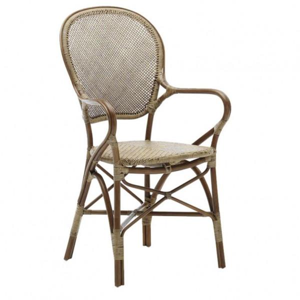 Sika Design Originals Stuhl Rossini mit Armlehne aus Rattan Antik
