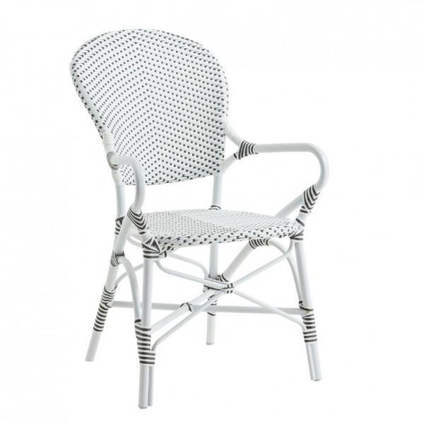 Sika Design Rattanstuhl Alu Isabell mit Armlehne Weiß