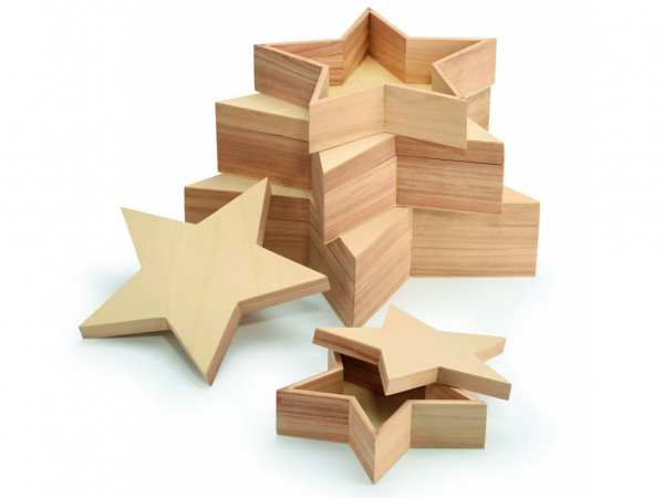 4-teiliges Box-Set Big Star aus Holz