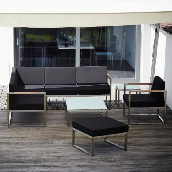 Gartenlounge Lux Lounge Mittelelement Edelstahl, Kissen schwarz