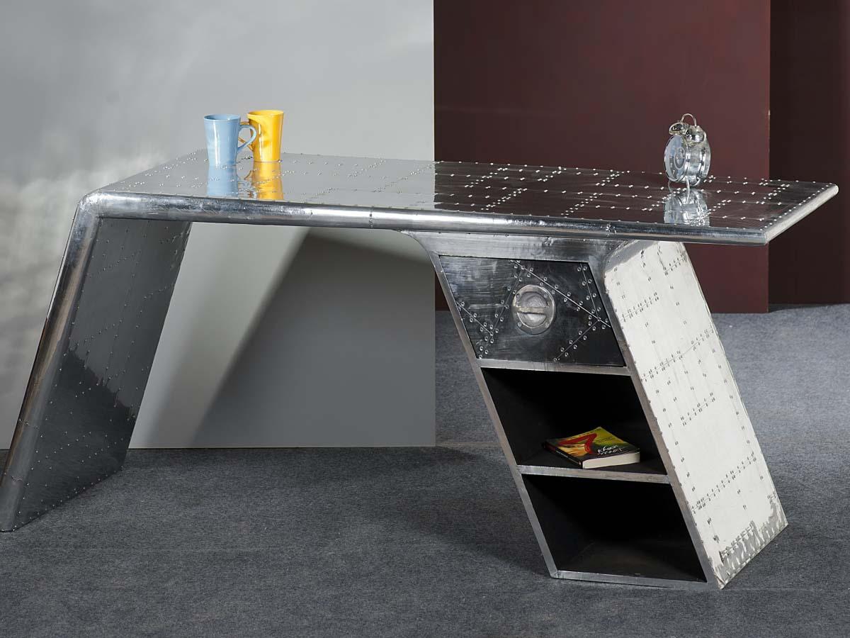 Industriedesign Schreibtisch Metall Mit Nieten Airman 81707 21 Seitlich