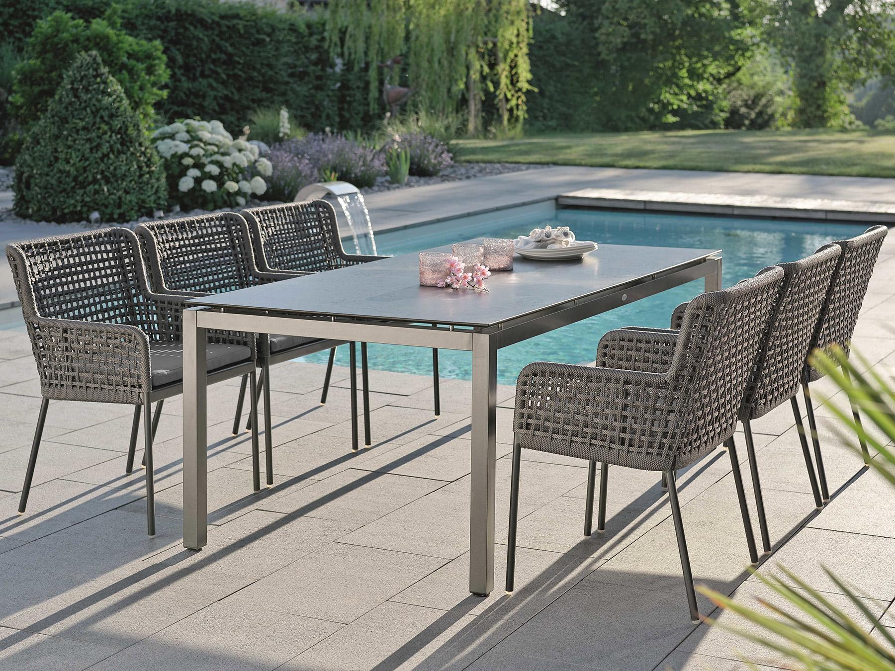 Stern Gartenmöbel Set Greta 6 Sessel Mit Tisch 200x100cm Anthrazit