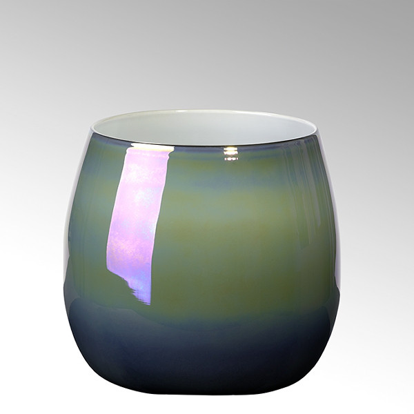 Vase Porto von Lambert Petrol Metallic 24 cm hoch
