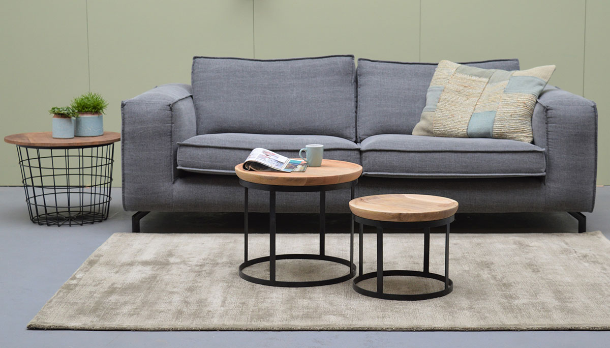 2er set couchtische rund stahlgestell schwarz industrielook online kaufen. Black Bedroom Furniture Sets. Home Design Ideas